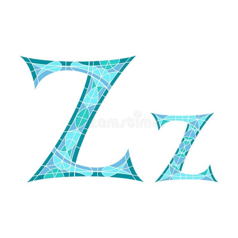 Basse poly lettre Z dans le polygone bleu de mosaïque illustration stock