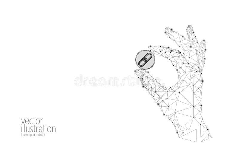 Basse poly main de cryptocurrency de GCC de pièce de monnaie de lien global de blockchain 3d géométriques polygonaux rendent numé illustration libre de droits