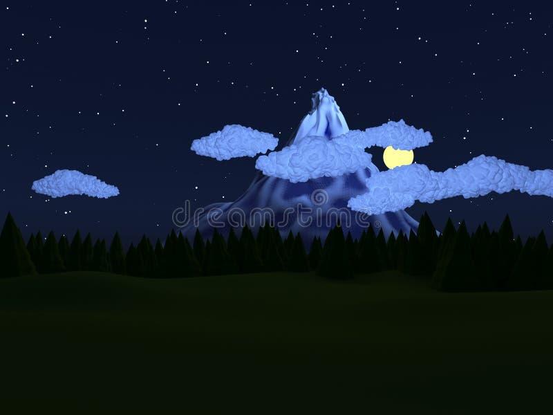 Basse poly nuit de paysage illustration stock