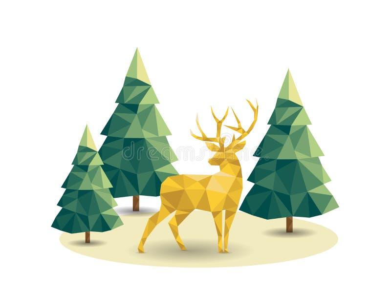 Basse poly scène de Noël avec le renne et les pins illustration de vecteur