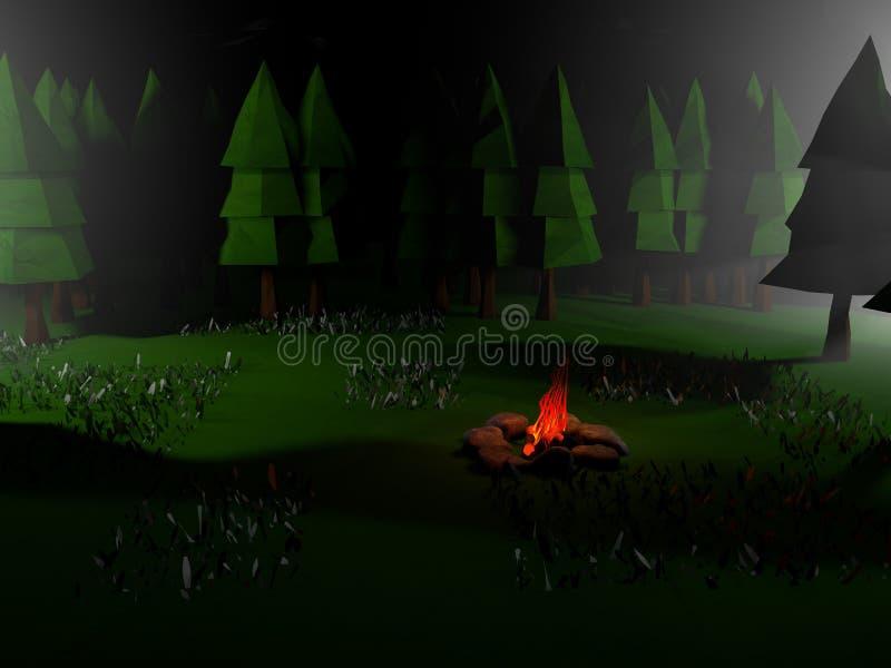 Basse poly scène de paysage de la nuit 3D illustration de vecteur