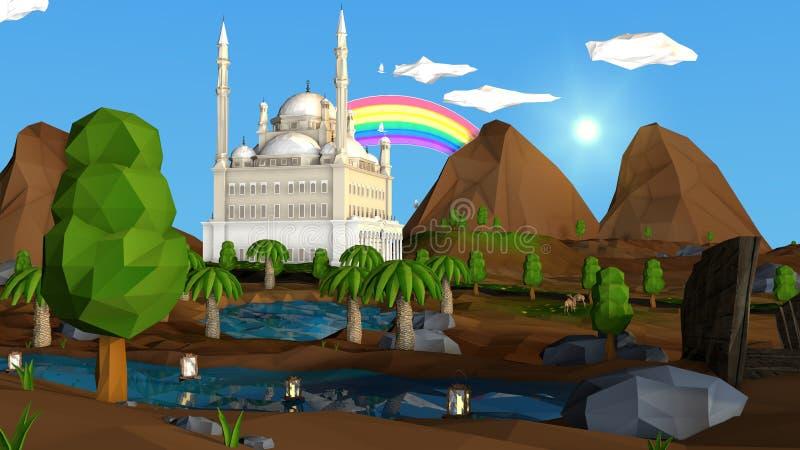 Basse poly vue islamique illustration libre de droits