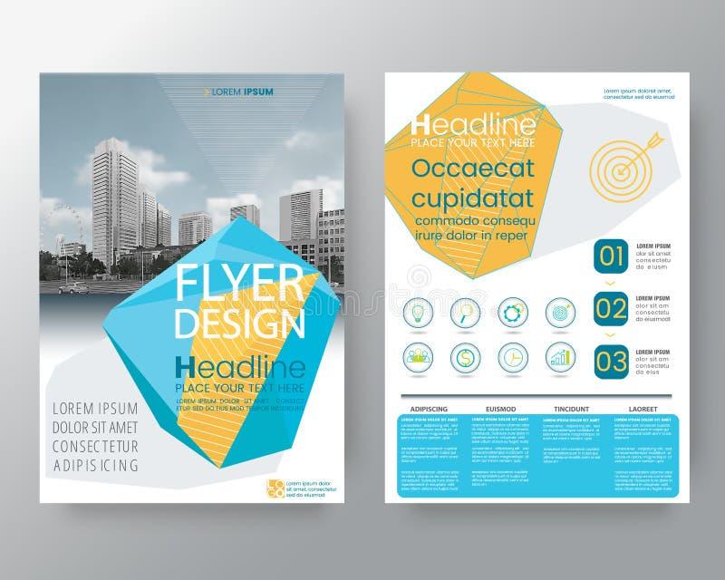Basse position bleue abstraite d'insecte de couverture de rapport annuel de brochure de polygone illustration de vecteur