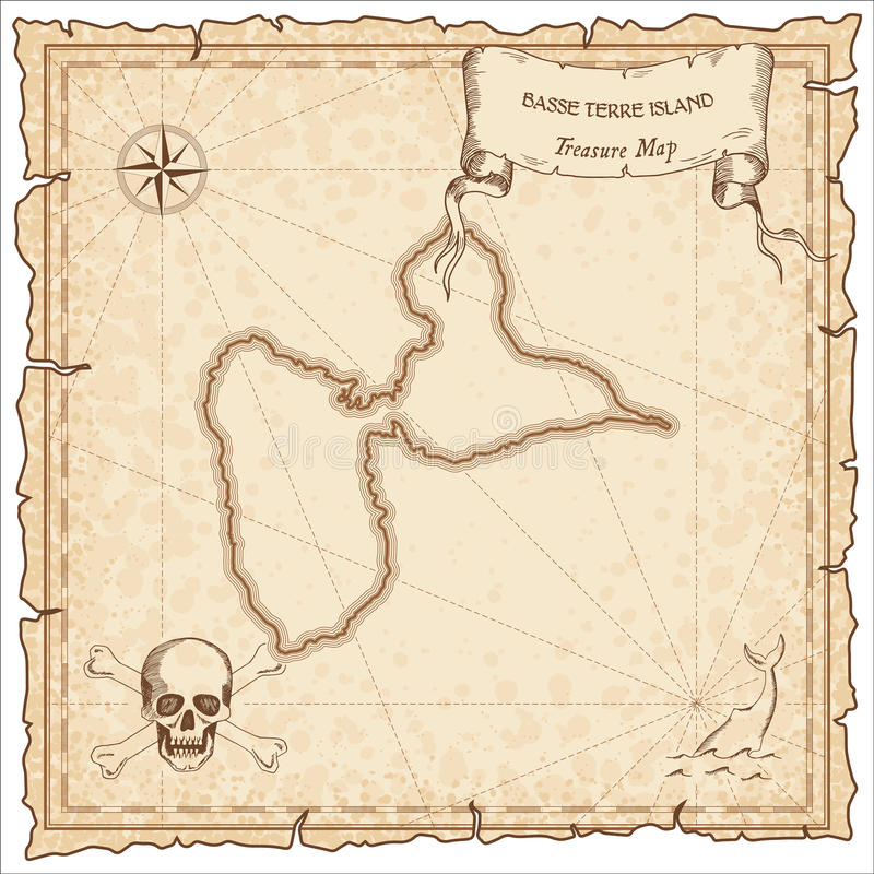 Basse-Terre Island old pirate map. Sepia engraved parchment template of treasure island. Stylized manuscript on vintage paper royalty free illustration
