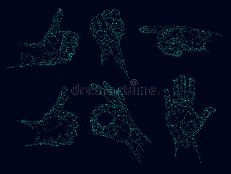 Basses poly mains futuristes, vecteur polygonal de gestes illustration de vecteur
