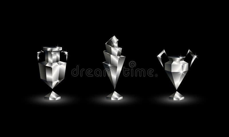 Basses poly tasses passées au bichromate de potasse du football réglées Trophée polygonal abstrait du football d'euro, champions, illustration stock
