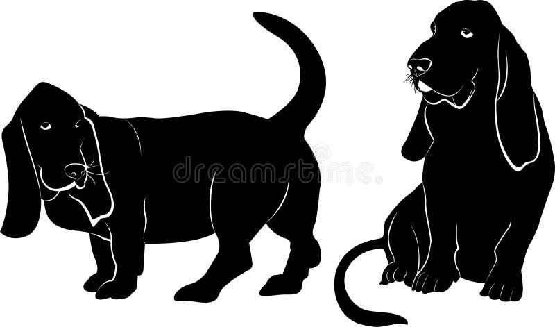 Basset hound dog vector silhouette vector illustration