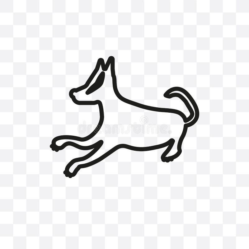 Basset Hound jest prześladowanym wektorową liniową ikonę odizolowywającą na przejrzystym tle, Basset Hound psi przezroczystości p ilustracji