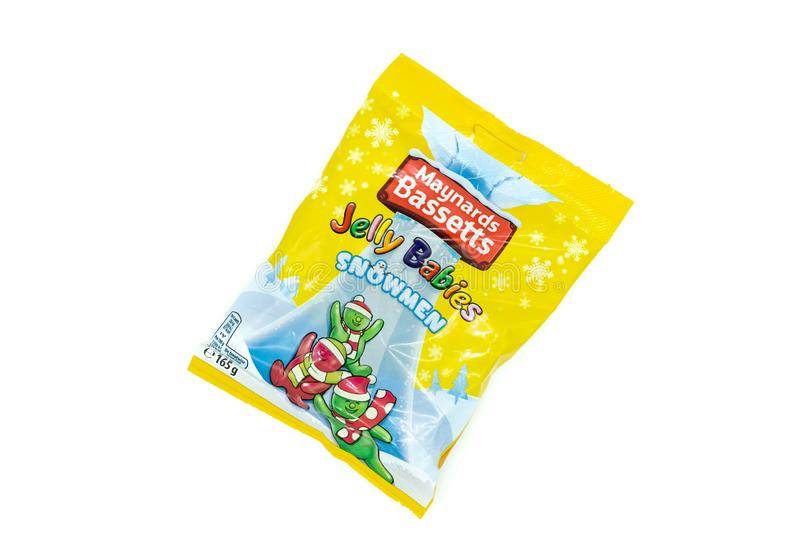 Bassets-hound Jelly Babies Christmas Themed dans le sachet en plastique photographie stock