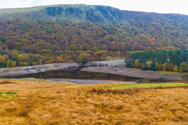 Bassi livelli dell'acqua in bacino idrico nella caduta di Auttumn immagini stock libere da diritti