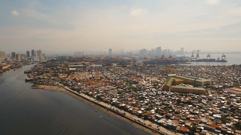 Bassifondi di vista aerea di Manila, il povero distretto Filippine, Manila fotografia stock