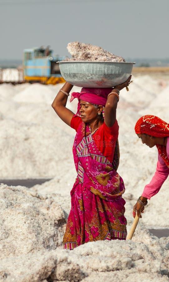 Bassin de transport de femme indienne complètement de sel image stock