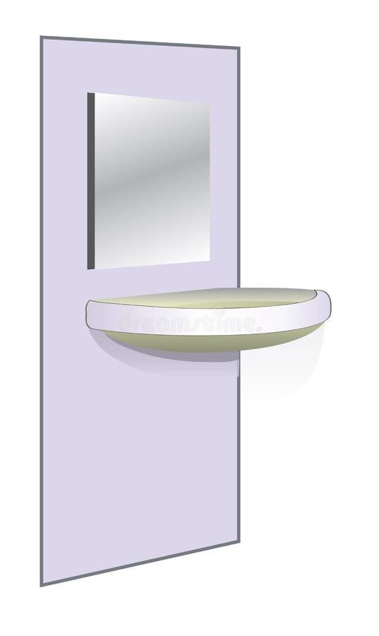 Bassin et miroir de salle de bains illustration libre de droits