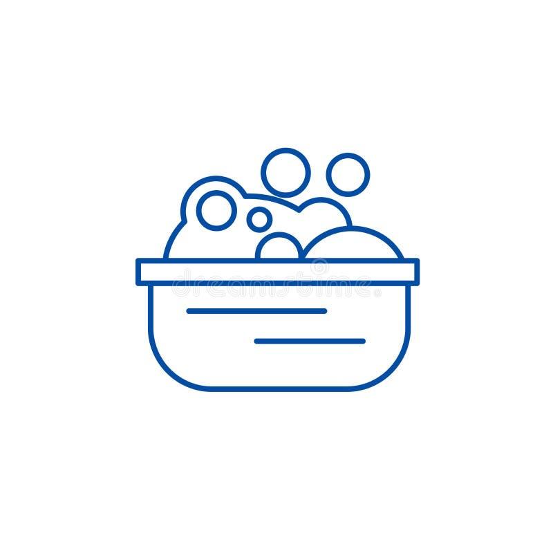 Bassin met het concept van het de lijnpictogram van het zeepschuim Bassin met het vlakke vectorsymbool van het zeepschuim, teken, stock illustratie
