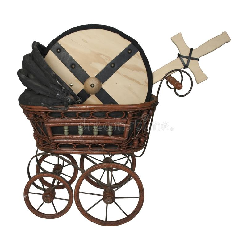 Bassinet with Shield and Sword. Path included stock images