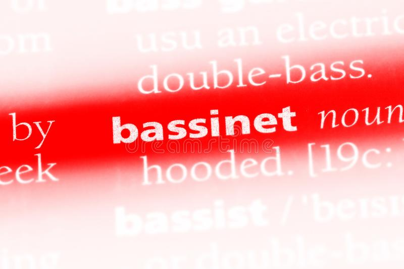 Bassinet. Word in a dictionary.  concept stock image