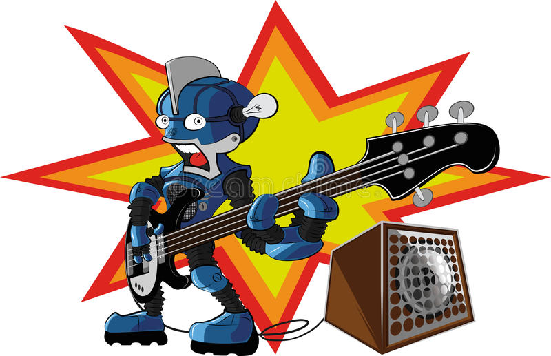 Bassist robot vector illustration
