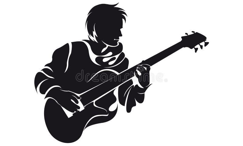 Bassist, Schattenbild lizenzfreie abbildung