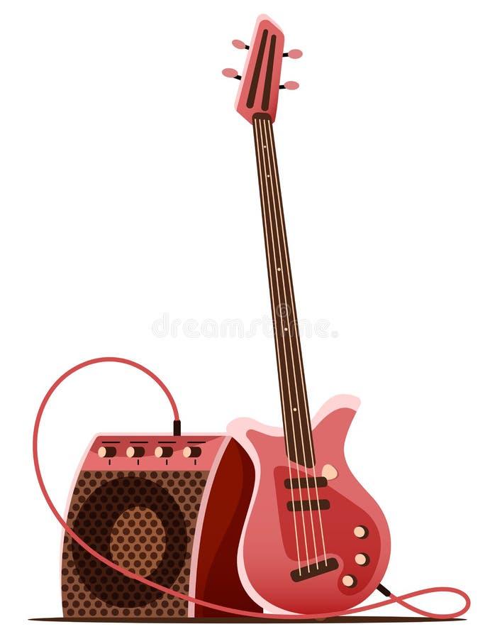 Basso elettrico con l'amplificatore Strumento musicale Illustrazione di vettore illustrazione vettoriale