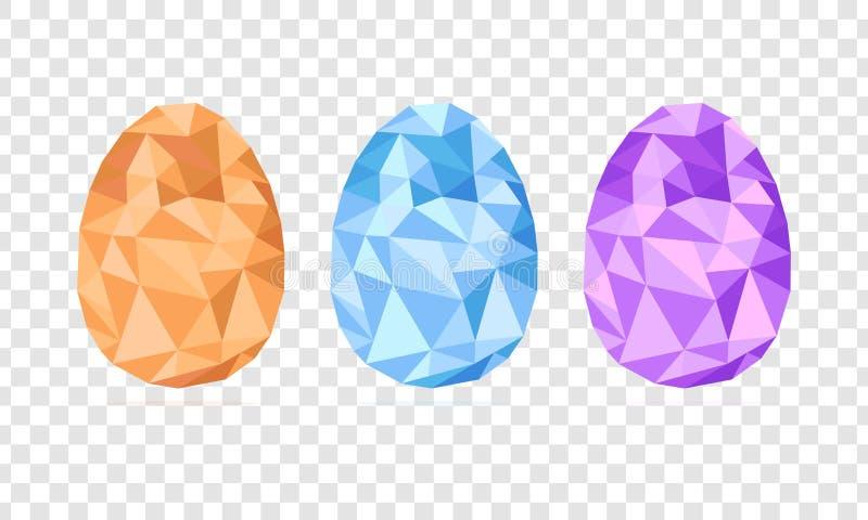 Basso poli vettore dell'insieme delle uova di Pasqua isolato su fondo trasparente, forma geometrica, illustrazione moderna royalty illustrazione gratis