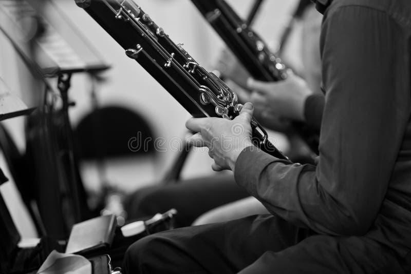 Bassons dans le plan rapproché d'orchestre image stock
