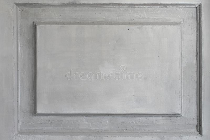 Bassorilievo bianco di lusso di progettazione della parete con l'elemento di roccoco dei modanature dello stucco Elementi dell'or immagini stock