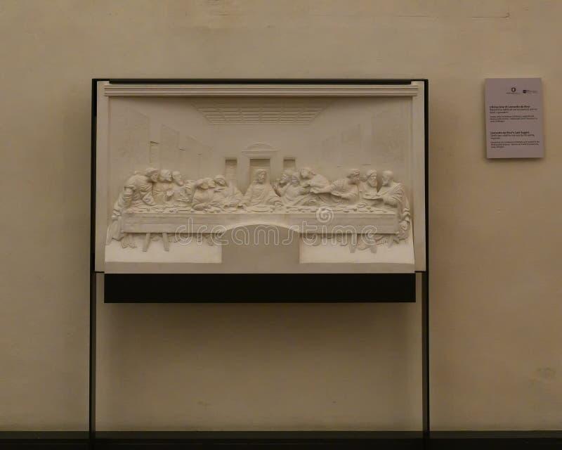 Bassorilievo di ultima cena da Leonardo da Vinci nella chiesa e nel convento del delle Grazie, Milano, Italia di Santa Maria immagine stock libera da diritti