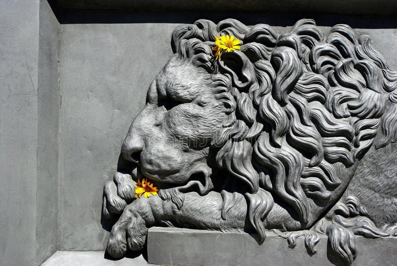 Bassorilievo di un leone leone nell'architettura Elemento della progettazione del monumento a Poltava, Ucraina fotografia stock libera da diritti