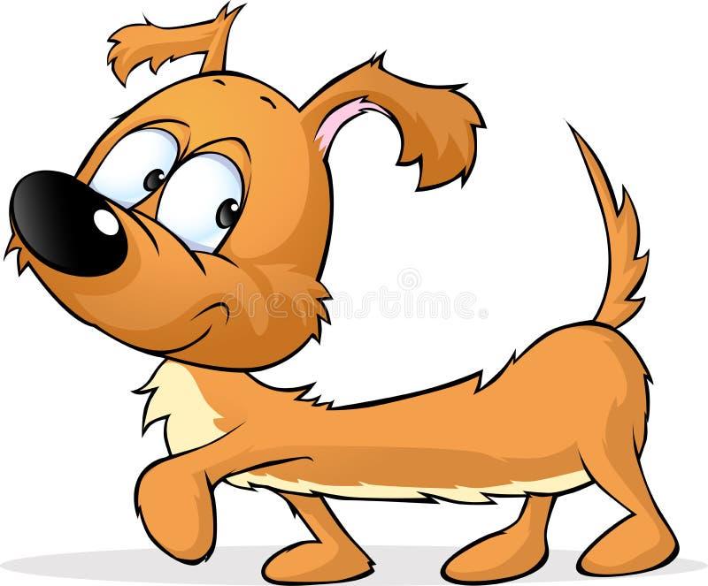 Bassotto tedesco allegro - illustrazione sveglia del cane isolata su bianco illustrazione vettoriale
