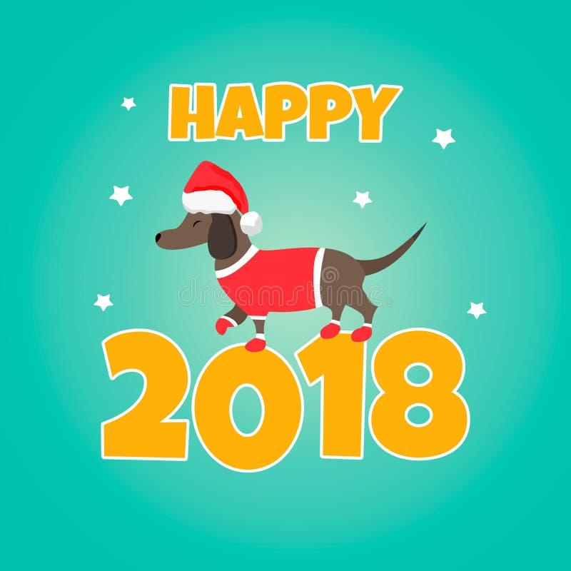 Bassotto tedesco di festa Perfezioni per l'anno di cane 2018 Priorità bassa di nuovo anno illustrazione di stock