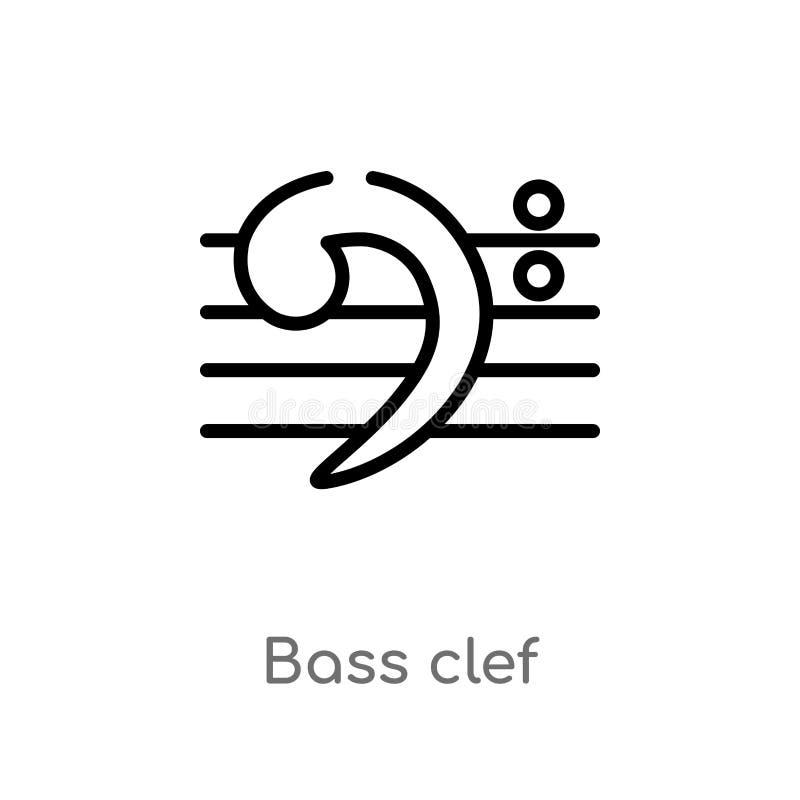 Bassschl?ssel-Vektorikone des Entwurfs lokalisiertes schwarzes einfaches Linienelementillustration von der Musik und von der Werb lizenzfreie abbildung