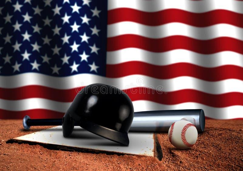 Bastão de beisebol com capacete e a bandeira americana ilustração do vetor