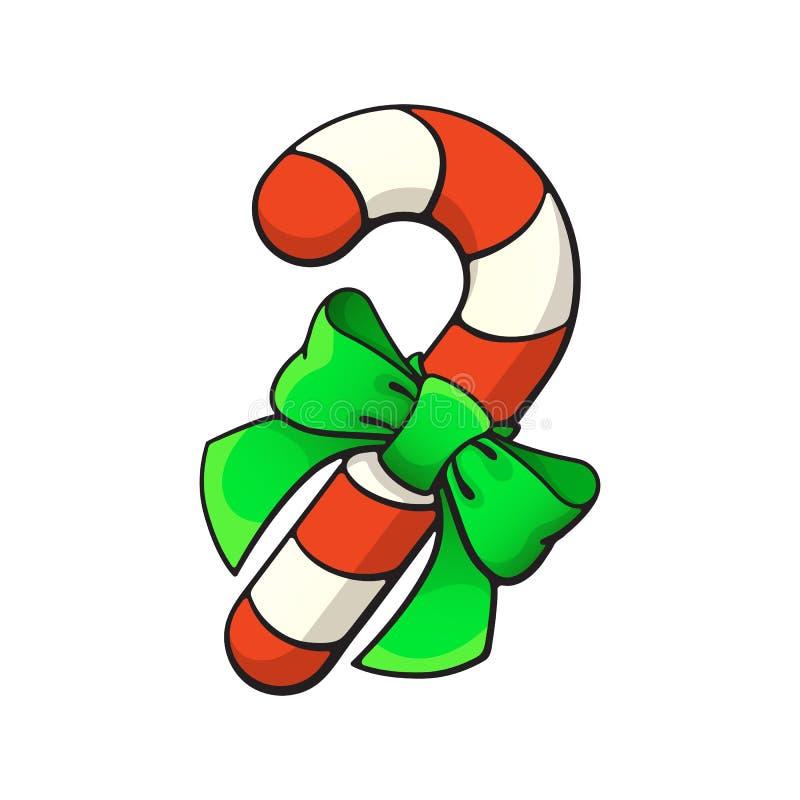 Bastão de doces do Natal dos desenhos animados com curva-nó da fita com contorno ilustração stock
