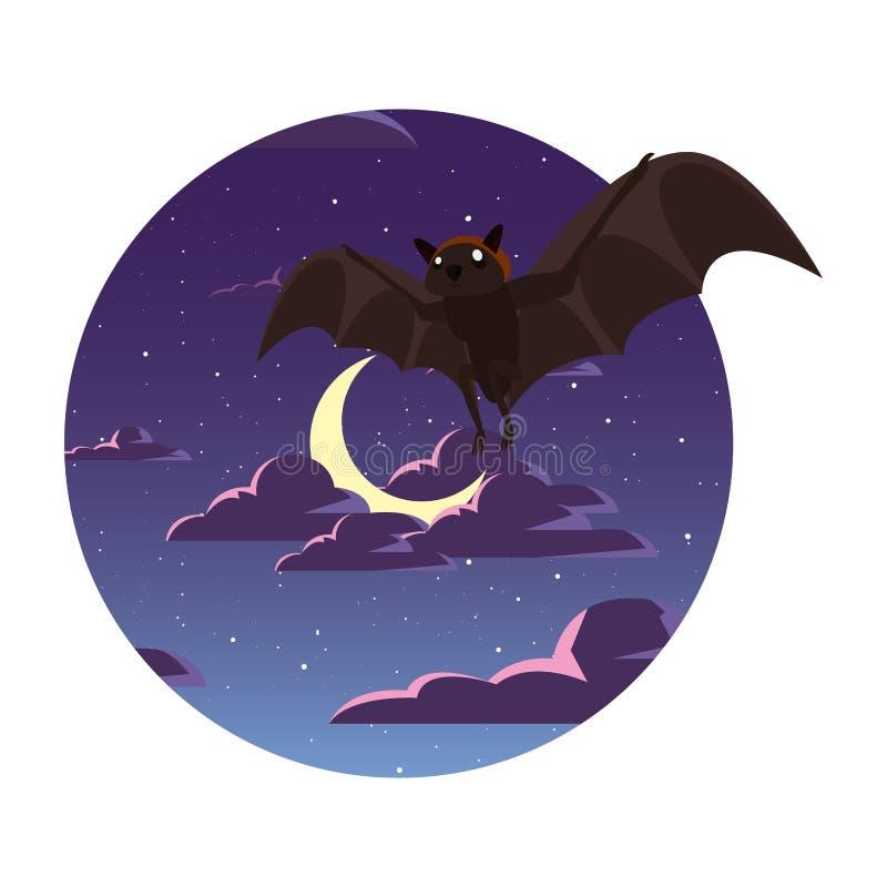 Bastão de voo no céu da lua da noite ilustração do vetor