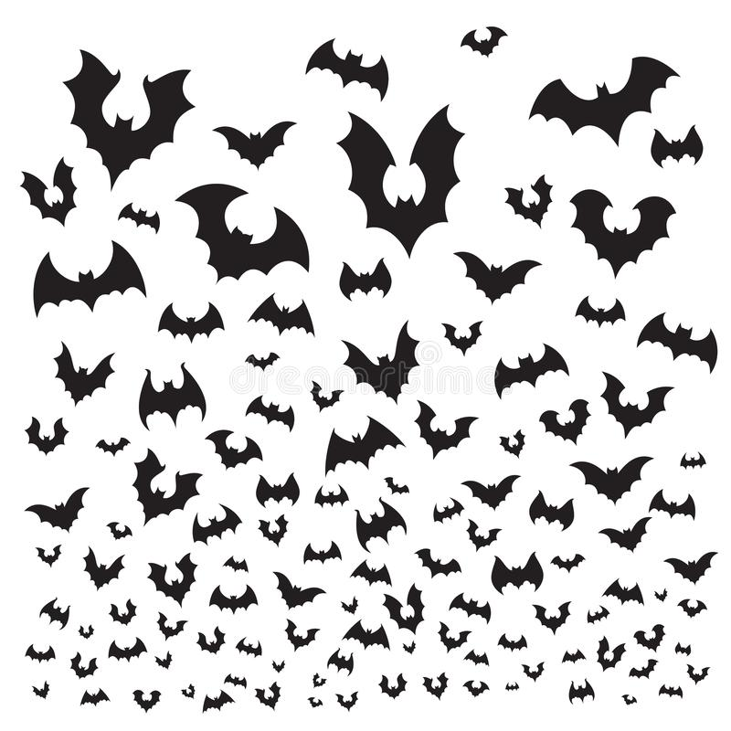 Bastão do Dia das Bruxas do voo O rebanho dos bastões de caverna mostra em silhueta a mosca no céu Ilustração assustador do fundo ilustração stock
