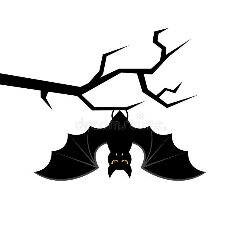 Bastão dos desenhos animados que pendura no ramo de árvore Cartão feliz de Halloween Ilustração do vetor ilustração stock