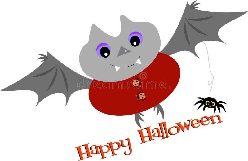 Bastão e aranha felizes de Halloween ilustração royalty free
