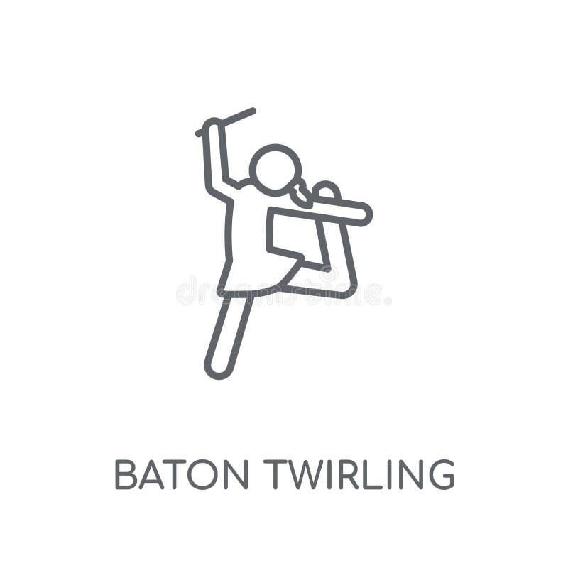 bastão que rodopia o ícone linear Bastão moderno do esboço que rodopia o logotipo c ilustração do vetor
