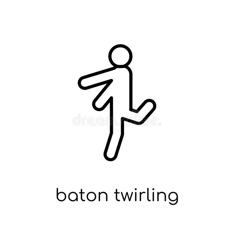bastão que rodopia o ícone Twir linear liso moderno na moda do bastão do vetor ilustração stock