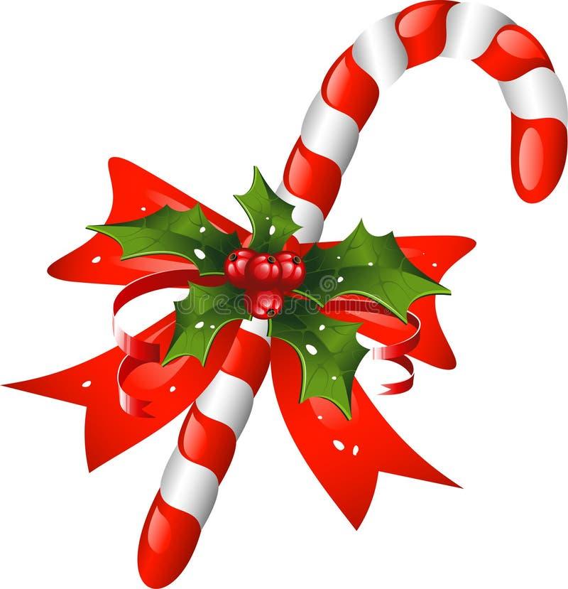 Bastón de caramelo de la Navidad adornado con un arqueamiento y un holl ilustración del vector