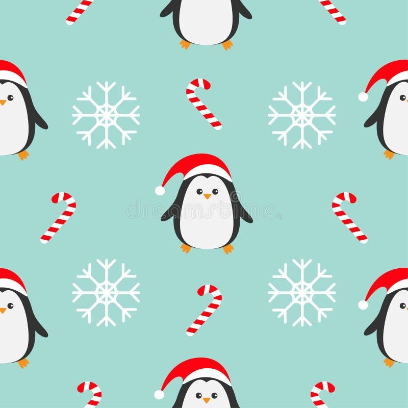 Bastón de caramelo del copo de nieve de la Navidad, pingüino que lleva el sombrero rojo de santa, bufanda Decoración inconsútil d stock de ilustración