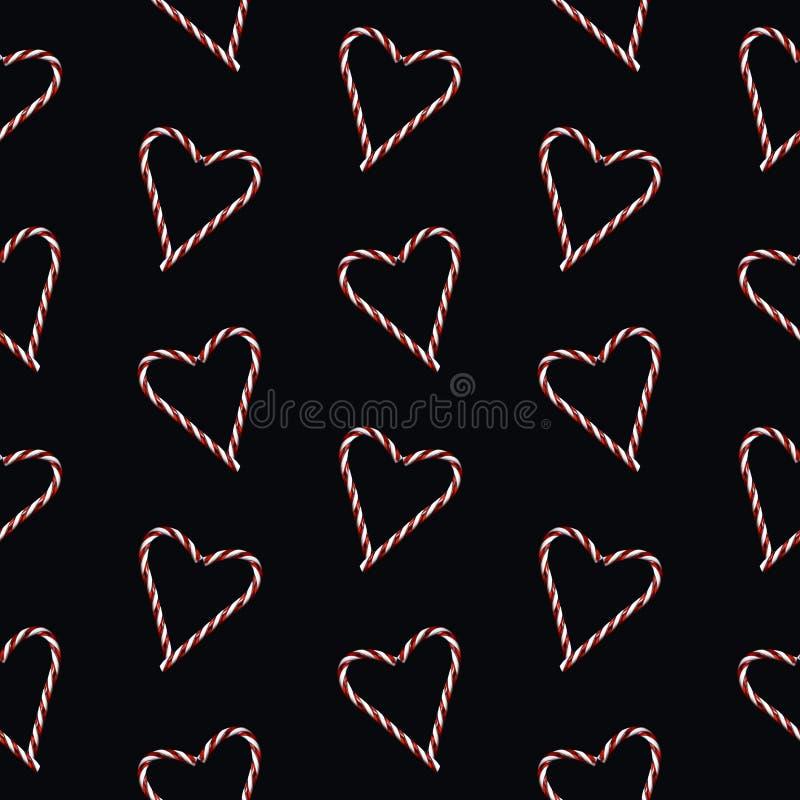 Bastón de caramelo en forma de corazón fotografiado de la Navidad tradicional roja y blanca en modelo sealess del fondo negro ilustración del vector