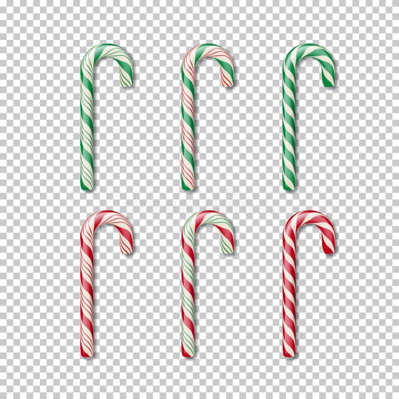 Bastón de caramelo fijado en fondo transparente Elemento de Christmass del vector libre illustration