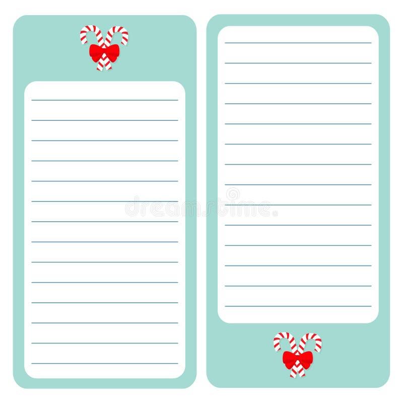 Bastón de caramelo de la Feliz Navidad Cojín de papel de la lista de nota Sistema del planificador Textura alineada Para hacer la libre illustration