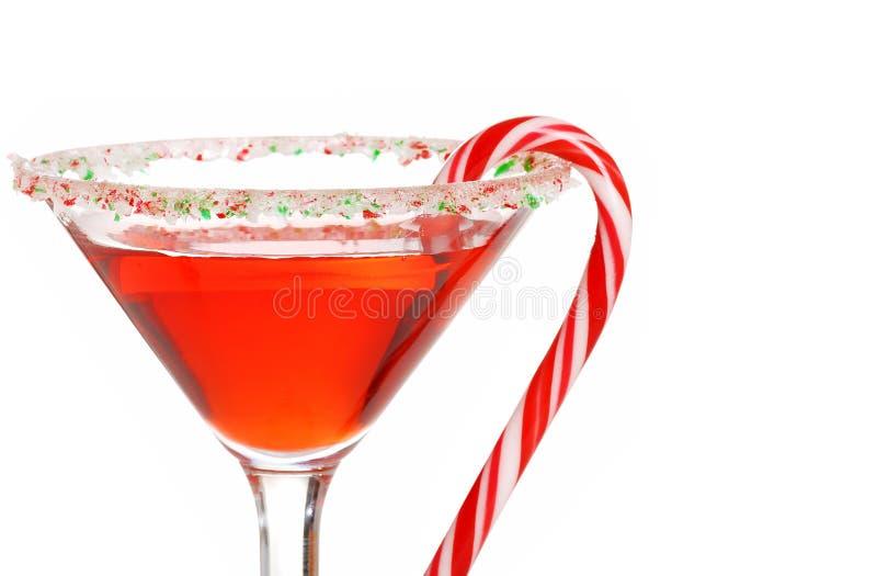Bastón de caramelo macro martini DOF bajo foto de archivo libre de regalías