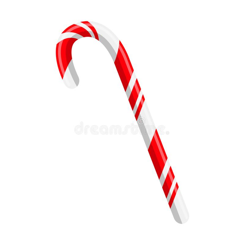 Bastón de caramelo para el diseño de la Navidad aislado en el fondo blanco stock de ilustración