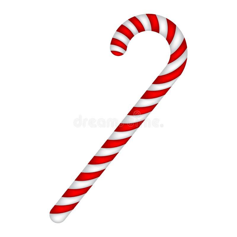 Bastón de caramelo rayado en colores de la Navidad Ejemplo del vector en un fondo blanco libre illustration