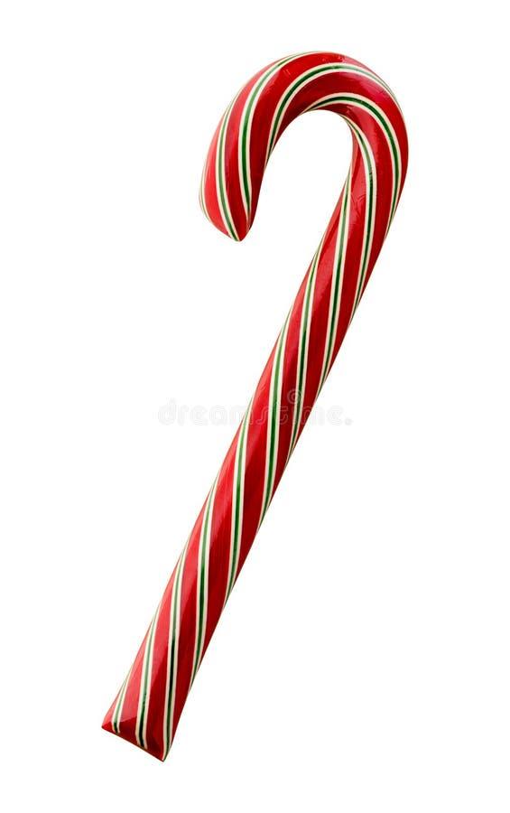 Bastón de caramelo rayado rojo y verde fotos de archivo