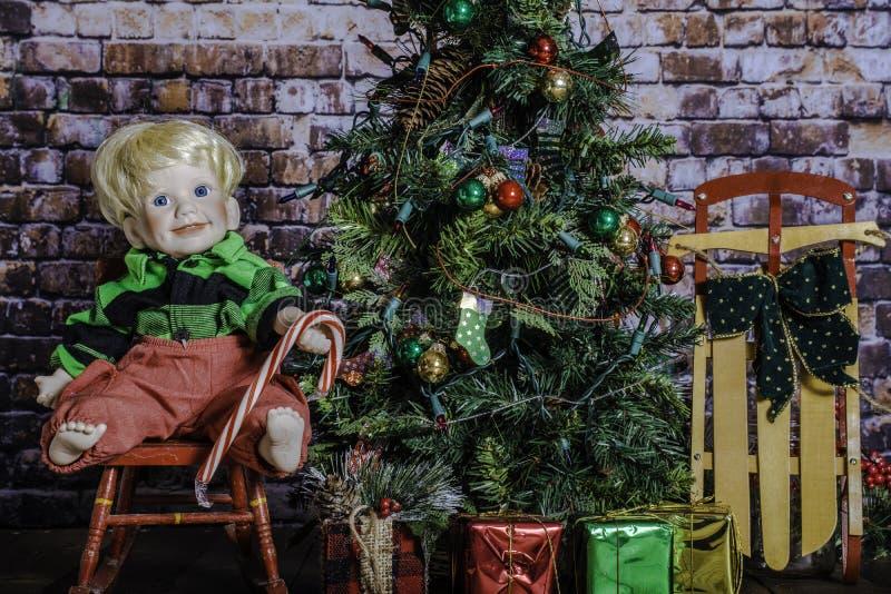 Bastón y árbol de navidad de caramelo fotografía de archivo