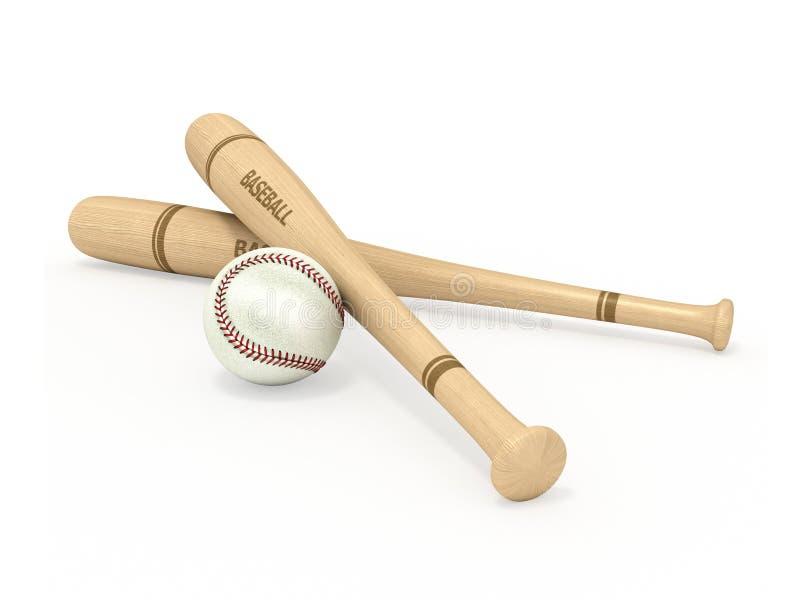 Bastões de beisebol e bola ilustração royalty free